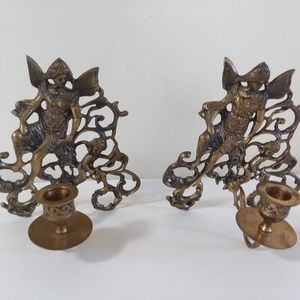 Antique Brass Fairy Wall Candle Sconces